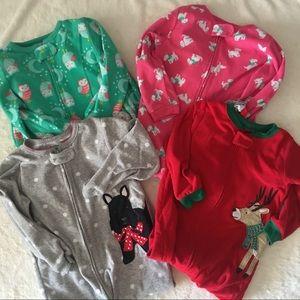 Carter's Lot of Toddler Girl 3T Fleece Footie PJs